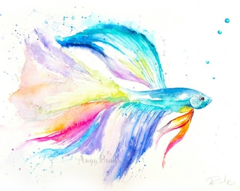 Betta Fish Watercolor Art, Original Artwork, Original Watercolor Painting, Betta fish painting, Betta fish watercolor, Fish Art,
