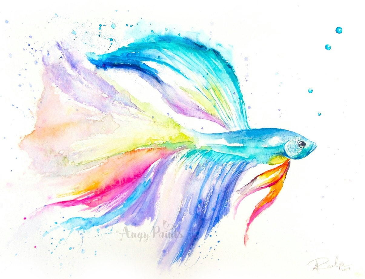 Betta fish watercolor art original artwork original for Betta fish painting