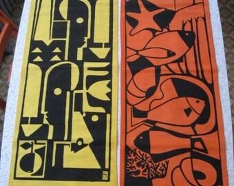 Mid Century Pair Abstract Art Wall Hangings, Modern Art Prints, Bermuda Crafts' Screen Prints, Canvas