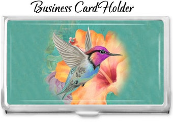 Hummingbird 2 Custom Business Card Holder - Personalized Card Case - Business Card Case - Gift Idea - Office Supplies - Credit Card Holder -