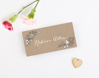 Kraft & Blush Wild Flowers Folded Place Card