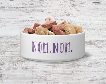 Nom Nom Pet Bowl Small or Large Dog Bowl Ceramic Cat Bowl Dish Pet