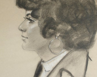 Vintage Portrait 1975 Charcoal Drawing Female Profile