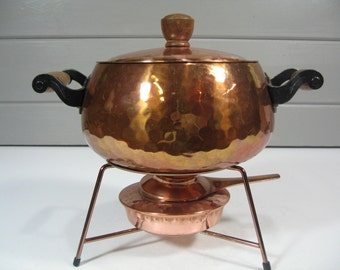 Vintage Copper Chafing Dish, Copper Fondue Dish, Copper Cookware, Vintage Server