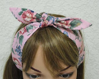 Pin Up Headband, women's hair scarf, self tie headband, handmade rockabilly headscarf, tie up hedband, 50s style hair wrap, polycotton
