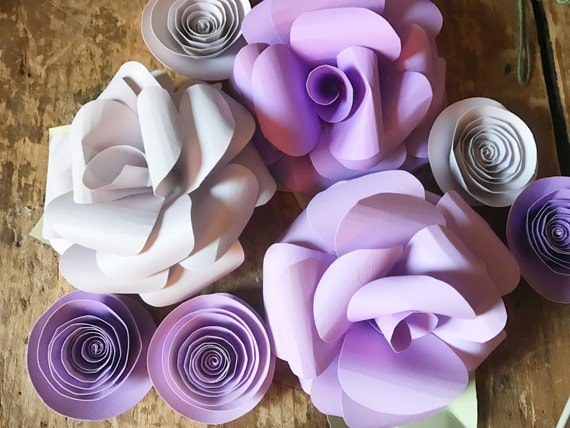 Pink and purple paper flowers, paper flower centerpiece, loose paper flowers, bright paper flowers