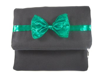 SUPER SALE - Fold Over Clutch Purse, Personalized Clutch, Black With Clover Green Ribbon Bow Clutch, Bridal Gift, Bridesmaid Gift