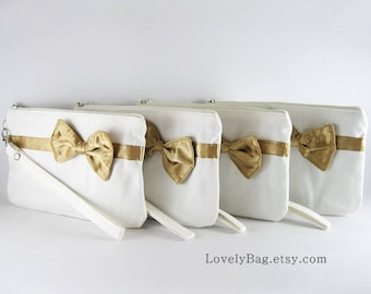 SALE - Ivory with Little Gold Bow Clutch / Bridal Clutch / Bridesmaids Clutch / Wedding Clutch | 9.90 USD per piece.