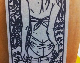 Dessin original, original artwork, erotic girl fille sexy sur carton