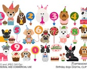 Birthday dogs digital clip art for Personal and Commercial use - INSTANT DOWNLOAD