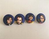 Big Bang Theory Fabric Button Earrings