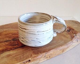 Handmade Studio Pottery Mug Winter White