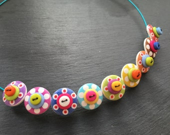 Rainbow Button Necklace Spotty Sputnik Polkadot Choker Necklace Rainbow