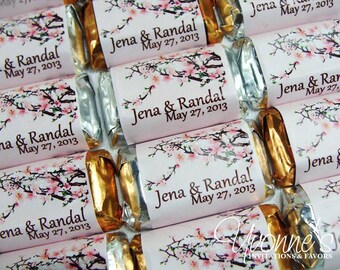 Bridal Shower Wedding/Shower Mini Candy Bar Wrappers - Miniature Chocolate Favors - Cherry Blossom Design - Wedding, Bridal Shower