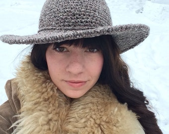Fall Hat | Wide Brim Hat | Grey Tweed felt Hat | Womens Hat | Boho brim hat | Fall and Winter Hats for Women |Gift for her | Black Friday Sa