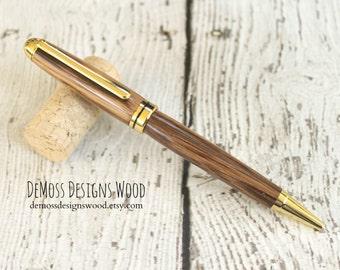 Zebra Wood Pen, Wood Turned, Euro Style, Black Ink, Gold Finish