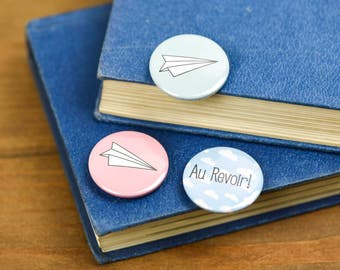 Au Revoir Paper planes Pin Badge Button pack