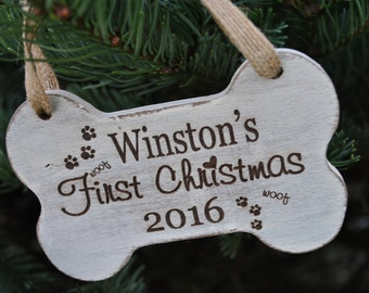 Dog First Christmas Ornament - Puppy First Christmas Ornament - Puppy Ornament - Dog Ornament - Puppy's First Christmas Ornament - Dog Lover