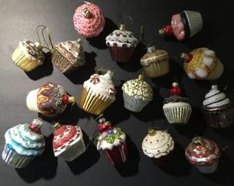 17 Glass Cupcake Christmas Ornaments Colorful