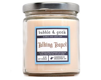 Talking Teapot Scented Soy Candle Jar - earl grey tea, white tea, ginger