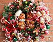 Gingerbread Family Peppermint Candy Christmas Wreath, Gingerbread Wreath, Gingerbread decor