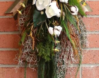 MADE TO ORDER Bayou Floral Door Swag Wreath, Louisiana Floral Wall Art, Spanish Moss Magnolia, Savannah Floral Decor, Cajun floral Swag