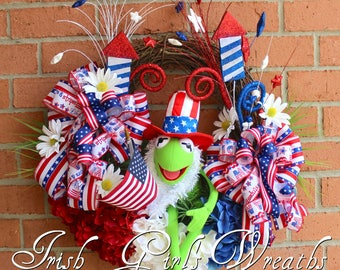 Kermit the Frog Muppet Patriotic Wreath/ Muppet 4th July Wreath, Summer Wreath, Patriotic Decor, Door wreath, Memorial Day, floral wreath
