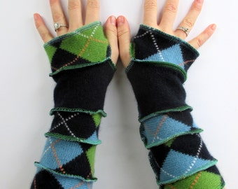 Arm Sleeves - Texting Gloves - Blue Green Argyle Print - Valentine's Present - Hippie - Preppie Argyle - Upcycled Clothing - Best Seller