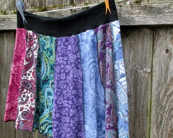 T-Shirt Skirt - Gypsy Style Clothing - Boho Chic - Colorful Paisley - Hippie Girl -  Remade One of a Kind - Eco Friendly Clothes