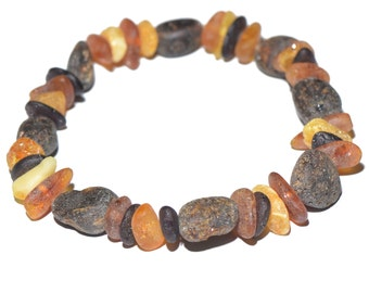 Amber Bracelet for Woman - Baltic Amber Bracelet - Raw Amber Beads - Cassual and stylish for daily wearing