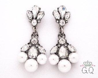 Pearl Dangle Wedding Plugs / Gauges. 2g / 6.5mm & 0g / 8mm
