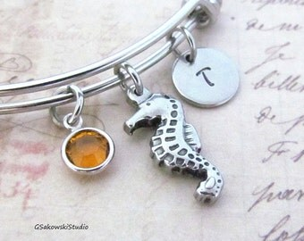 Seahorse Stainless Steel Charm Bangle, Personalized Hand Stamped Initial Birthstone Seahorse  Charm Bangle Bracelet