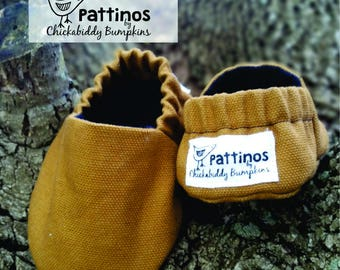 Pattinos Cotton Duck Baby Shoes, Crib Shoes, Booties, Soft Soled Shoes, Hand Printed Shoes, Solid Brown Booties, Canvas Baby Shoes