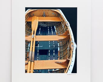 Wooden Boat Photography, 11x14 Matted Print, Rockport Maine Rowboat Oars Photo, Nautical Wall Decor, Dory Skiff Art Vertical Coastal Artwork