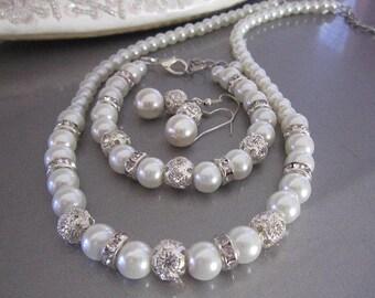 Pearl Bridal Necklace Bracelet Earring Set Pearl and Rhinestone Bridal Jewelry Set Bridesmaid Gift Wedding Jewelry