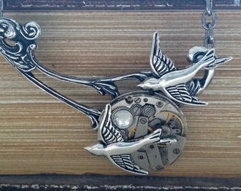 Steampunk birds pendant necklace
