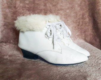 Vintage White Leather Ankle Boots - Fur Ankle Booties - Genuine Leather - EU 36 US 5.5 UK 3.5