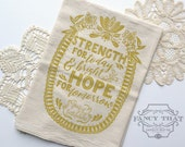 Strength for Today. Tea Towel. Hymn Art. Natural Cotton Flour Sack Tea Towel. Great is Thy Faithfulness. Hostess gift. Gift for Her.Mom gift