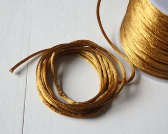 10 yards Satin rattail cord in antique gold - 2mm satin cord for macrame, jewelry, decorations, dark gold satin rattail cord - 10 yds.