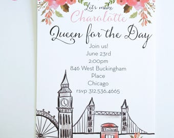 BRIDAL SHOWER INVITATIONS  - London Themed Bridal Shower