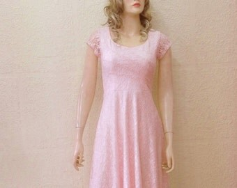 Blush Pink Lace Bridesmaid Dress. Dress With Sleeves. Blush Pink Evening Dress. Knee Length Dress.