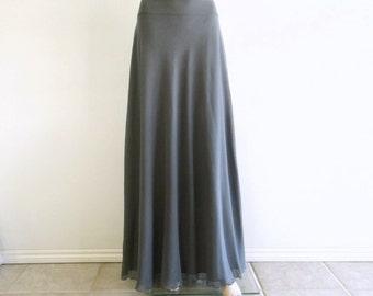 Dark Grey Bridesmaid Skirt. Dark Grey Maxi Skirt. Long Evening Skirt. Chiffon Floor Length Skirt.