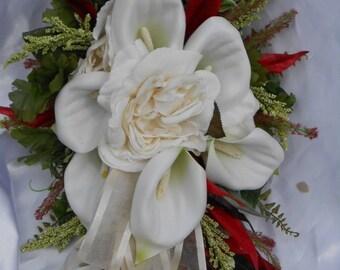 Silk Wedding Bridal bouquet set, Cream, Red, Calla Lilies 15 piece set