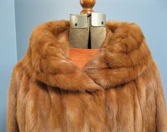 Cognac Mink Fur Jacket 1950's Cropped Tan Fur Coat