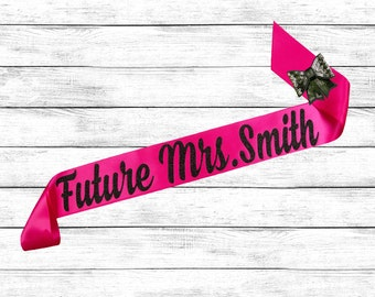 Bride Sash - Future Mrs Sash - Bride To Be Sash - Bachelorette Sash - Satin Bride Sash - Glitter Sash - Personalized Sash