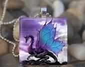 10% OFF DECEMBER SALE : Purple Dragon Fairy Tale Fantasy Glass Tile Pendant Necklace Keyring