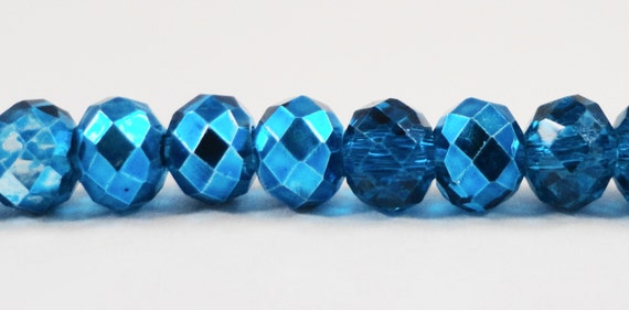 """Dark Aqua Blue Crystal Beads 6x4mm (4x6mm) Half Metallic Blue Rondelle Beads, Chinese Crystal Glass Beads on an 8 1/2"""" Strand with 49 Beads"""