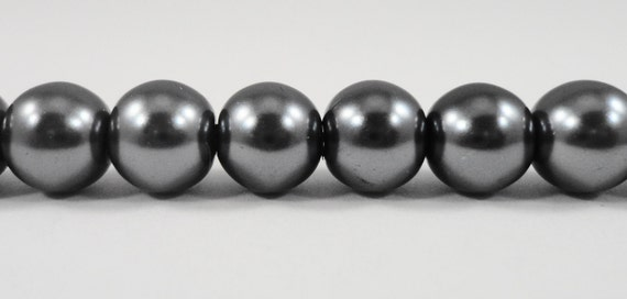 """Gray Pearl Beads 8mm Round Glass Pearl Beads, Charcoal Dark Grey Crystal Pearl Beads, Imitation Pearl Beads on a 7"""" Strand with 25 Beads"""