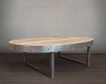 Oval Coffee Table, Reclaimed Wood and Metal