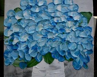 SALE Original  Blue Hydrangea    Flower  Palette Knife Technique  Small Acrylic Painting.